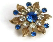 Vintage Royal Blue & Clear Rhinestone Brooch Pin