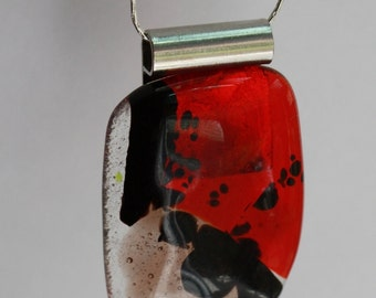 Red Black & Clear Abstract Original One of a Kind Fused Glass Abstract Modern Necklace Pendant  / 91