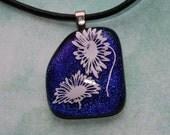 Cobalt Blue Daisy Fused Glass Pendant