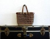 John Romain woven handbag / 1960s vintage purse / brown and tan