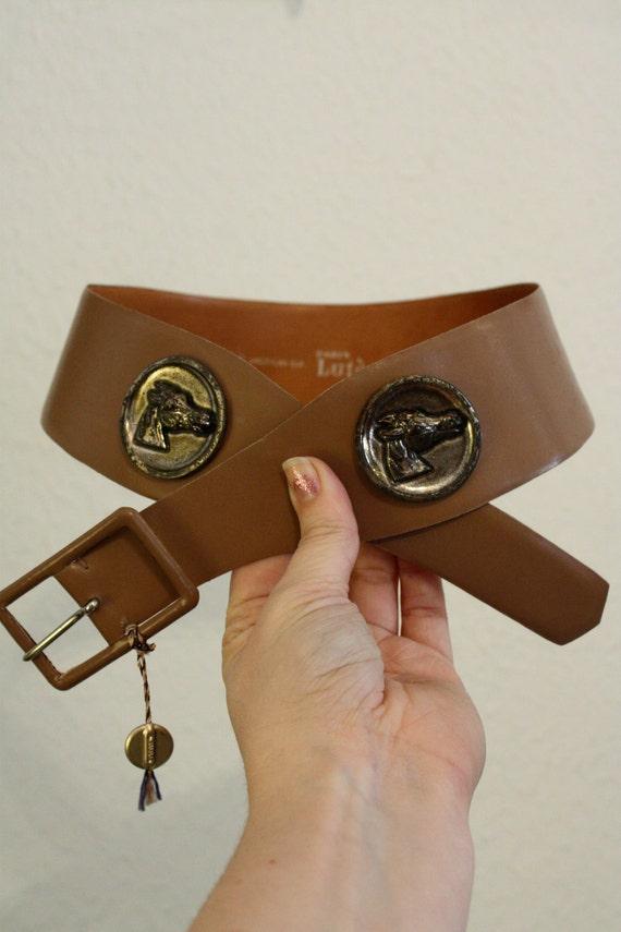 french leather waist belt / horse head medallions / lutece deadstock