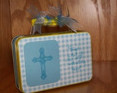 """Cross Altered Tin done in blue """"Trust in the Lord with all thy Heart"""""""