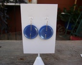 Periwinkle Blue Vintage Wire Wrapped Button Earrings