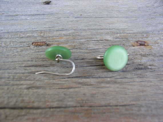 Vintage Green Wire Wrapped Button Earrings
