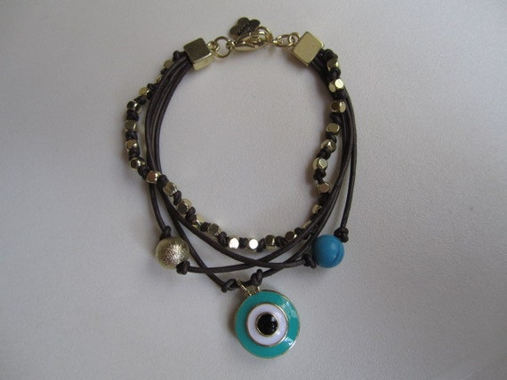 Evil Eye Brown Three Strand Charm Bracelet - Gold Beads - Turquoise
