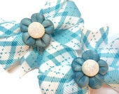 Baby Pig tail bows Blue Spring Flowers - Handmade Polymer Clay Centers
