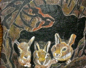 Rabbit Babies Etching on Natural Slate from Lake Erie
