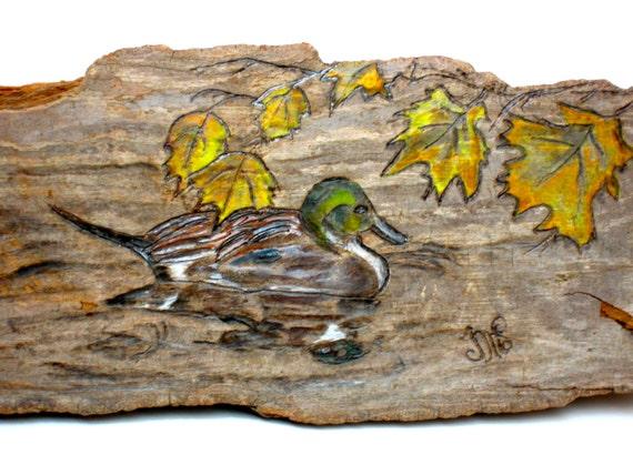 Duck Woodburning in Autumn