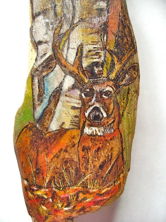 Deer Wood-burning Art on Driftwood