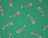 REServed 4 Amber Giraffe on Green Fabric, All Over Print, Fabric Finders, 1 yard