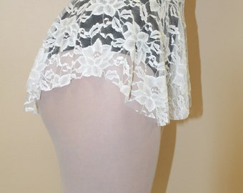 White SAB Skirt in a Stretch Lace