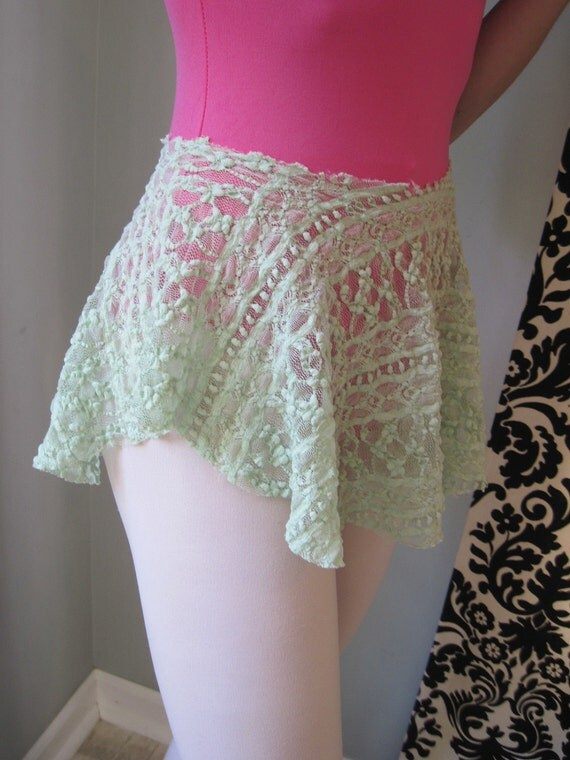Green Ballet Skirt, Dance Skirt in Stretch Lace