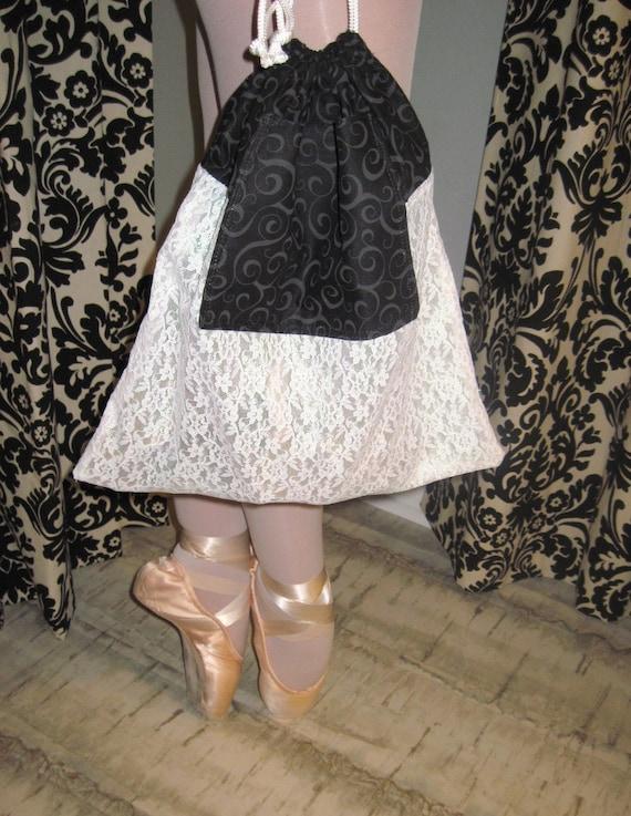 Ballet Shoe Bag, Dance Shoe Bag, Pointe Shoe Bag in Black Swirls