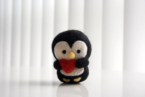 Heart Needle Felted Penguin