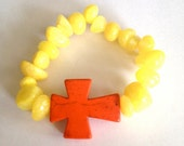 On Sale--Orange Cross Bracelet
