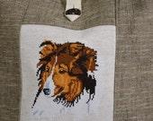 Shetland Sheepdog Cross Stitch Large Tote Laptop Bag Handmade