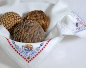 Bread Cloth Basket Bowl Liner Coffee Break Cross Stitch Handmade