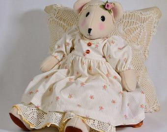 Baby Girl Bear Doll in Long Dress and Petticoat Handmade