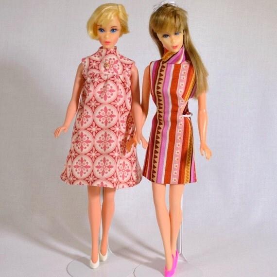 2 Mod Retro Sixties Barbie Dresses Handmade