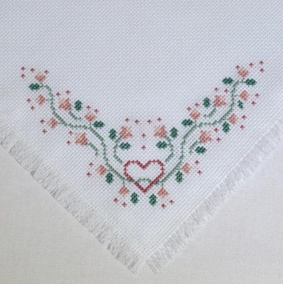 Pink Hearts Cross Stitch Bread Cloth Basket Bowl Liner Handmade