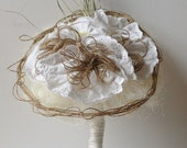 Rustic Organic Natural Inspired Bridal Bouquet with Fabric Lace Flowers , Buttons and Jute