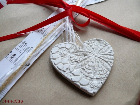 Clay Heart Gift Tags with Doily Pattern  Christmas Ornaments