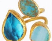 Three Stone Ring: Aquamarine, Turquoise & Blue Agate