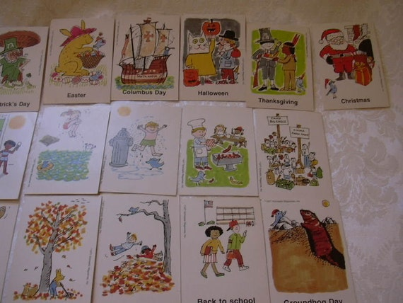 Vintage Scholastic All Year Picture Cards Set of 32