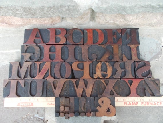 Vintage Wood Letterpress Type Print Block Full Upper Case Alphabet and Some Punctuation 1930s Price includes US Shipping