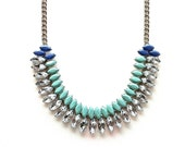 Aqua and Periwinkle Hand-painted Crystal Necklace