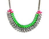 Neon Green and Neon Pink Hand-painted Crystal Necklace