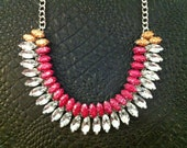 Pink and Gold Glitter Hand-painted Crystal Necklace