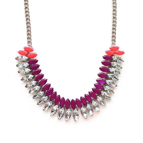 The Rainey Necklace - Neon Purple & Bright Coral