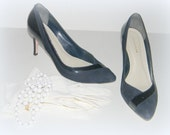 Heels  Vintage Women shoes 7 1/2 by Ann Taylor Summer Fashion  suede patent leather navy dark blue and black Ready to ship from Colorado USA