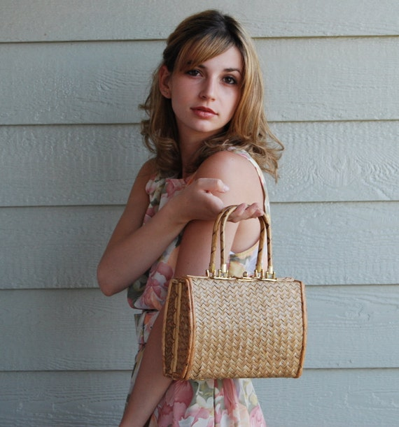 Summer bag VINTAGE 60's/70's natural straw handbag purse boxy shape with metal details. Ready to ship from Colorado USA