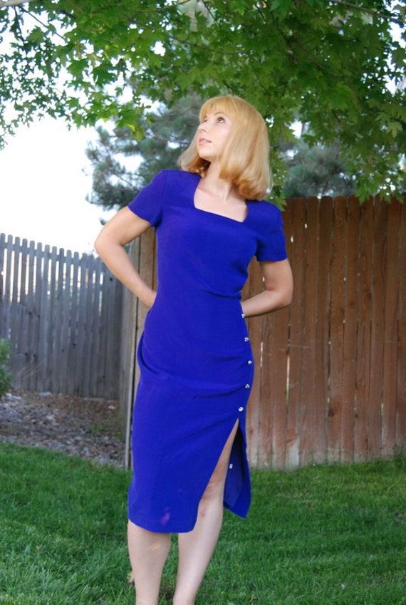 Neon Fashion Summer dress Vintage Purple pure silk Spencer Jeremy unworn dress. 70th short sleeve dress. Ready to ship from Colorado USA