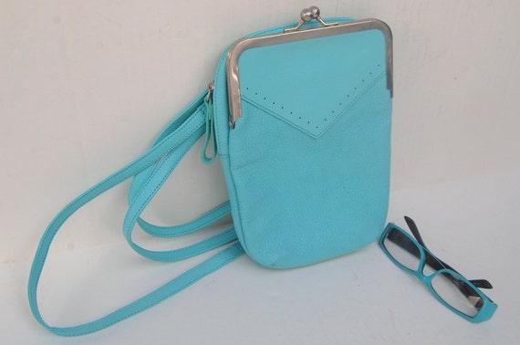 90s Coldwater Creek  designer light blue  leather small kiss lock  Satchel messenger shoulder crossbody bag  ships from Colorado USA