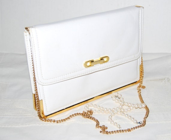 Structured purse Fall fashion Vintage 50's Clutch handbag  white with the gold frame. Mad Men Holiday Accesories Shipping from Colorado USA