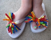 Rainbow - multi colored flip flop bows - korker bows - spiked bows for flip flops - shoe bows - removeable and interchangeable -cupcake qt