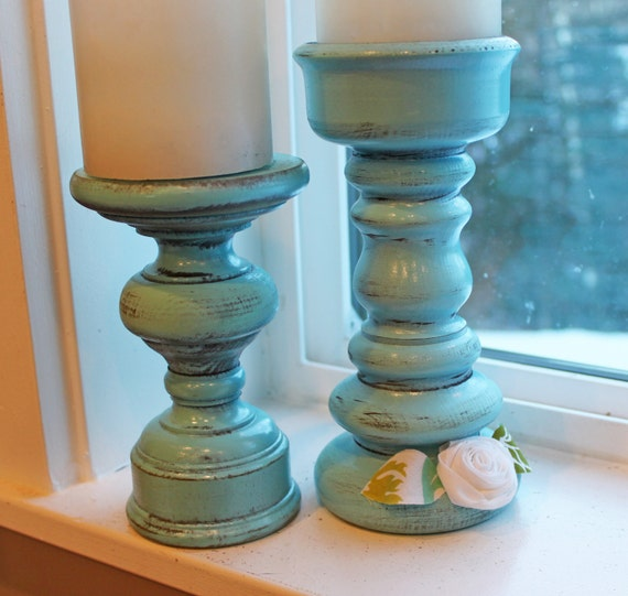Candle Holders, Aqua candlesticks in Vintage finish, with Joel Dewberry fabric flowers- made to order