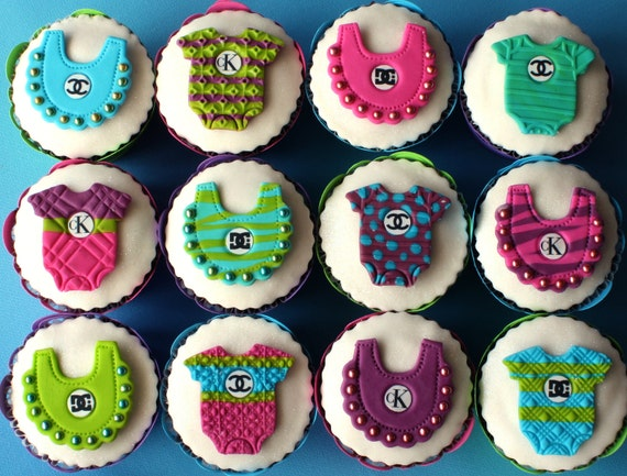 Cupcake toppers baby boy girl fashion edible cake decorations for Baby shower cupcake picks decoration