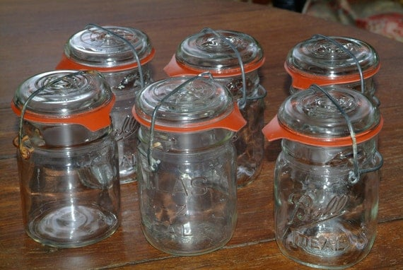 Glass top (mason) canning jars with wire bail closures