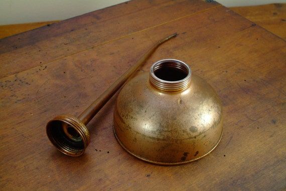 Vintage Industrial Copper Coated Oil Can