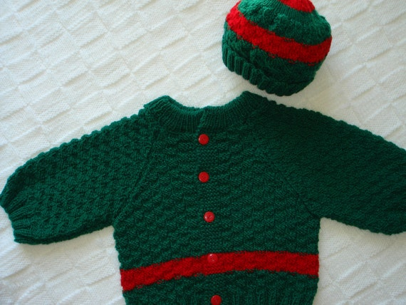 Green Baby Sweater and Hat, Size 6 - 12 months, hand knit