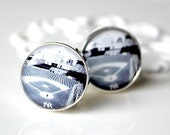 New York Yankees Stadium Cufflinks - black and white photo image inspired by baseball - accessories gift for him