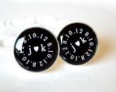 Custom special date, you heart me monogram cufflinks, timeless mens jewelry keepsake gift, classic cuff link accessories