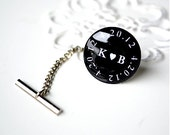 You heart me custom date logo tie tack - gift for groom groomsmen father of the bride wedding day