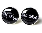 Mr. Right cufflinks, timeless mens jewelry keepsake gift, classic cuff link accessories