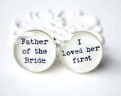 Father of the Bride cufflinks, black and white graphic,wedding accessory