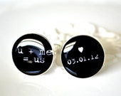 u plus me equals us and custom date cufflinks by White Truffle - keepsake gift for wedding engagement or anniversary